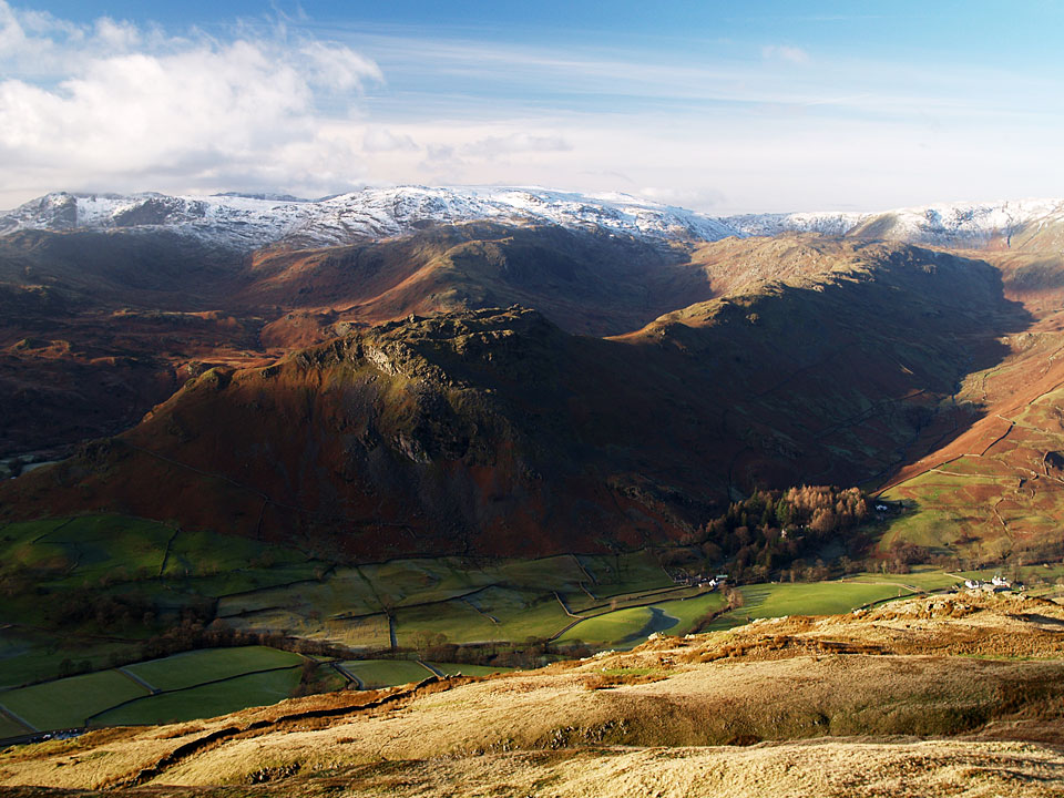 High Raise with Helm Crag in the foreground across the Vale of Grasmere, from Stone Arthur