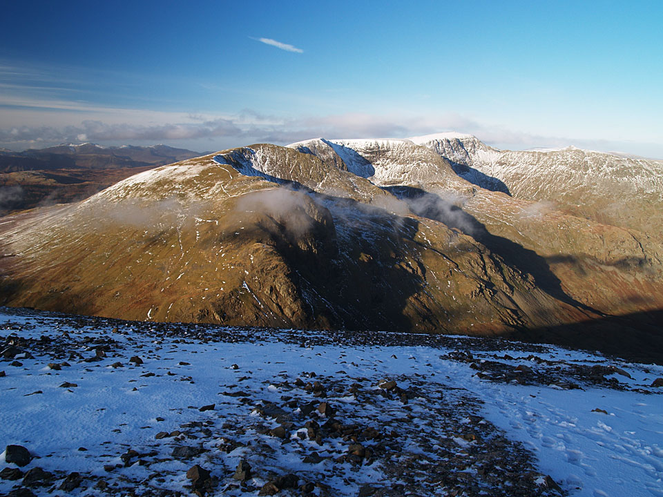 Dollywagon Pike, Nethermost Pike and Helvellyn - plus of course Striding Edge - from the summit of Fairfield