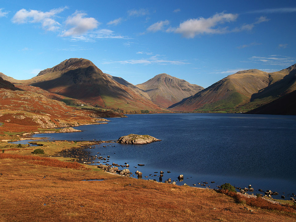 The classic view of Wast Water, Great Gable at its head