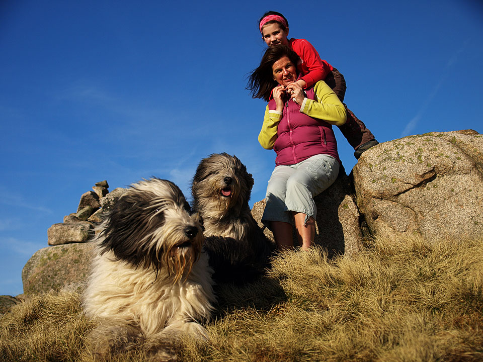 The family on Rough Crag in 2008 - Casper, Angus, Louise and Connie