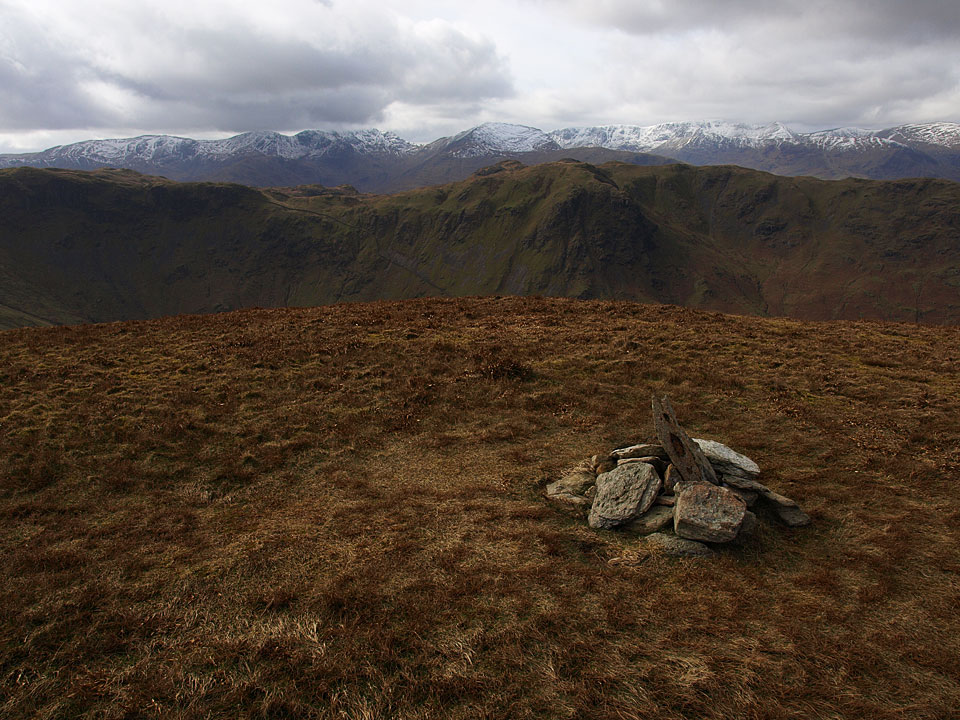 The view from The Nab across Angletarn Pikes to Fairfield and Helvellyn