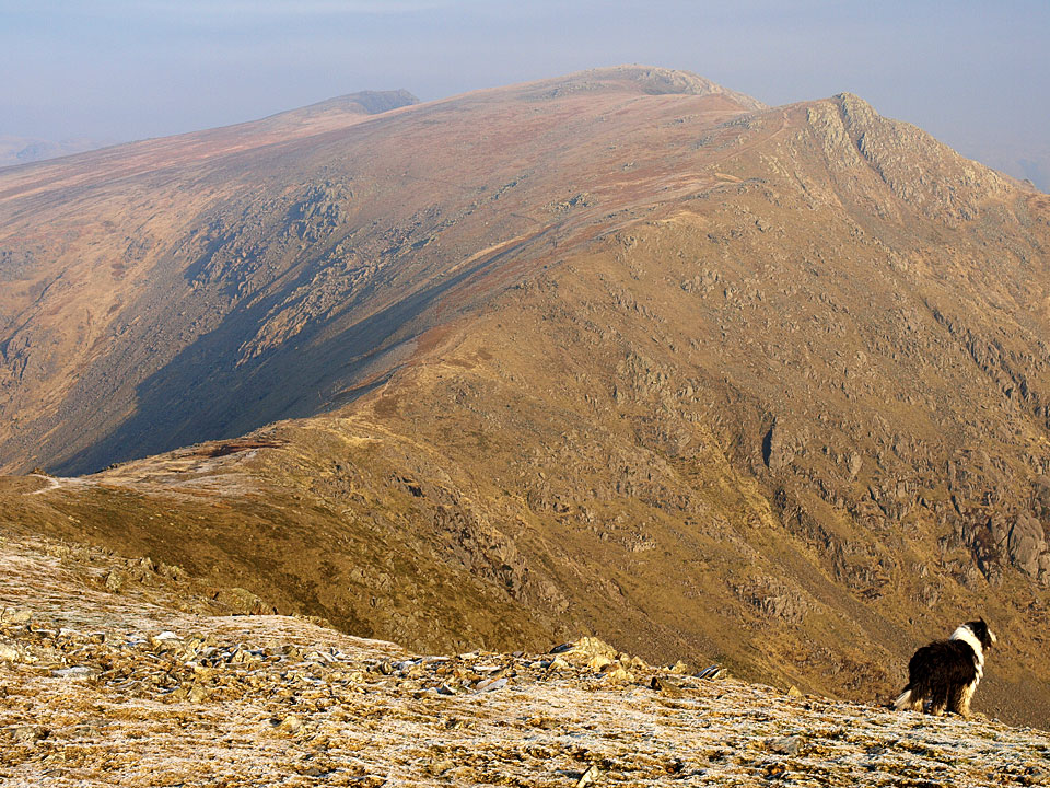 Great Carrs, Swirl How and Great How Crags from the descent to Levers Hawse