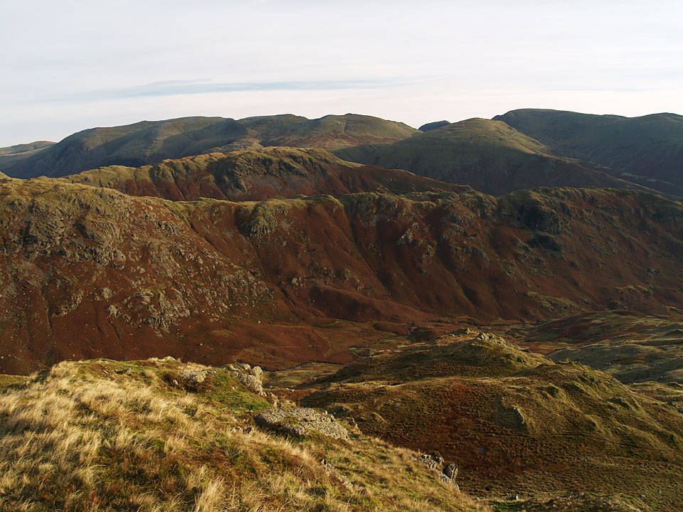 Looking over to Helvellyn from Tarn Crag, Gibson Knott and Steel Fell in the foreground