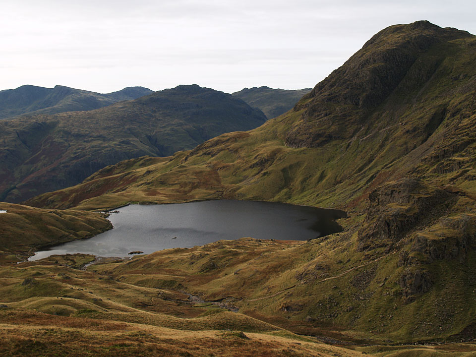 Stickle Tarn and Harrison Stickle from the ridge to Blea Rigg