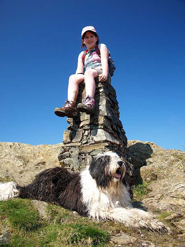 The trig column on High Blind How, the summit of Claife Heights