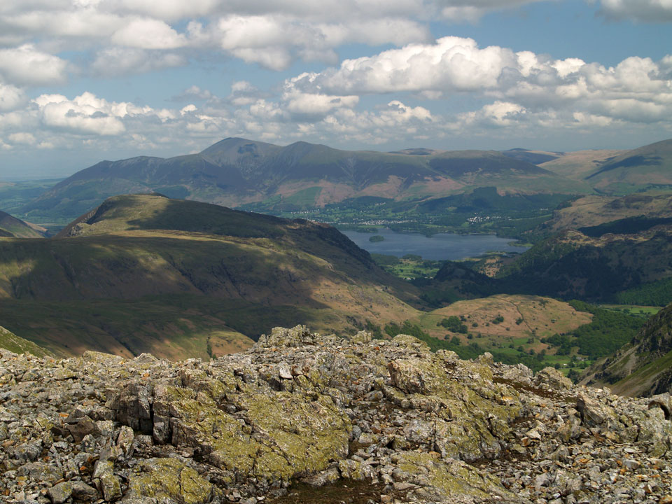 Skiddaw and Derwent Water from the summit of Great End
