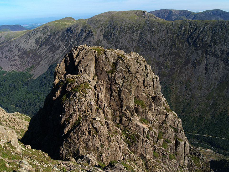Pillar Rock from the upper part of the Shamrock Traverse with Pisgah in front and High Man behind.