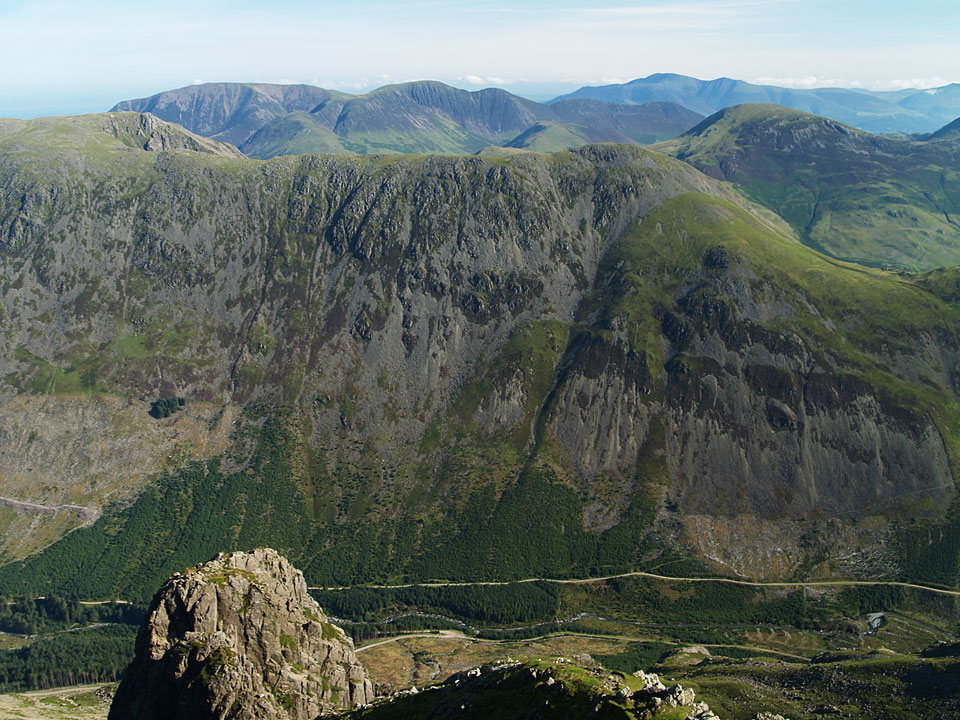 The north-eastern fells beyond High Crag with Skiddaw in the distance - from Pillar.