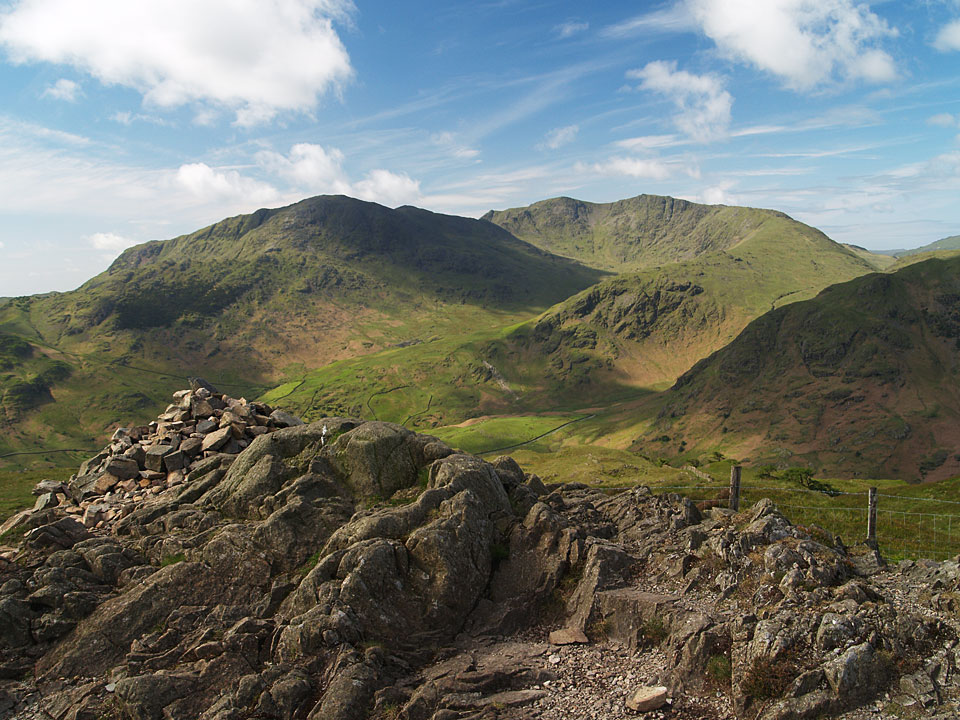 Wetherlam, Swirl How and Great Carrs from the summit of Lingmoor Fell
