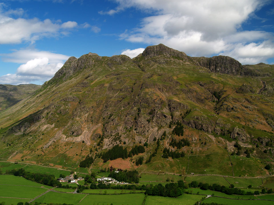 The Langdale Pikes from Side Pike, Pike o' Stickle the domed fell on the left