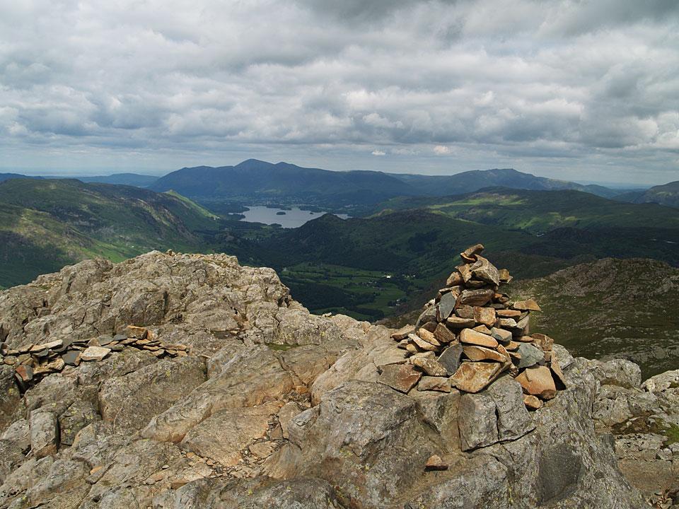 Skiddaw, Blencathra and Derwent Water from the summit of Glaramara