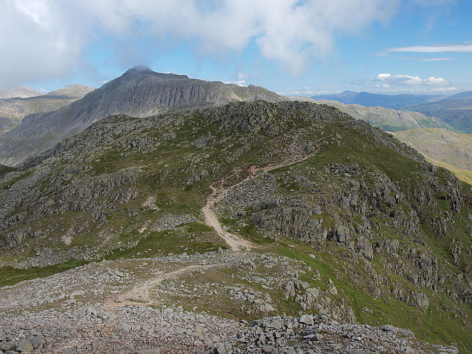 Shelter Crags and Bowfell from the fifth Crinkle, Gunson Knott