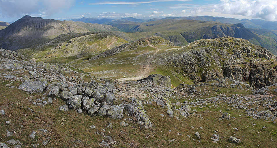 Crinkle Crags and Bowfell from Long Top, the summit of Crinkle Crags