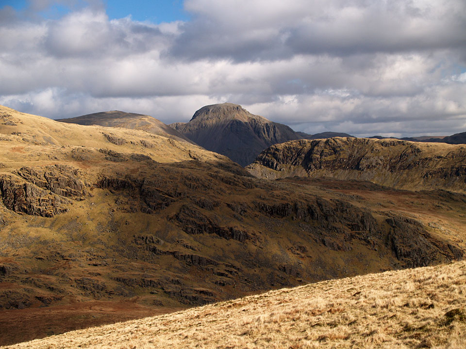 Great Gable flanked by Kirk Fell and Yewbarrow from Seatallan.