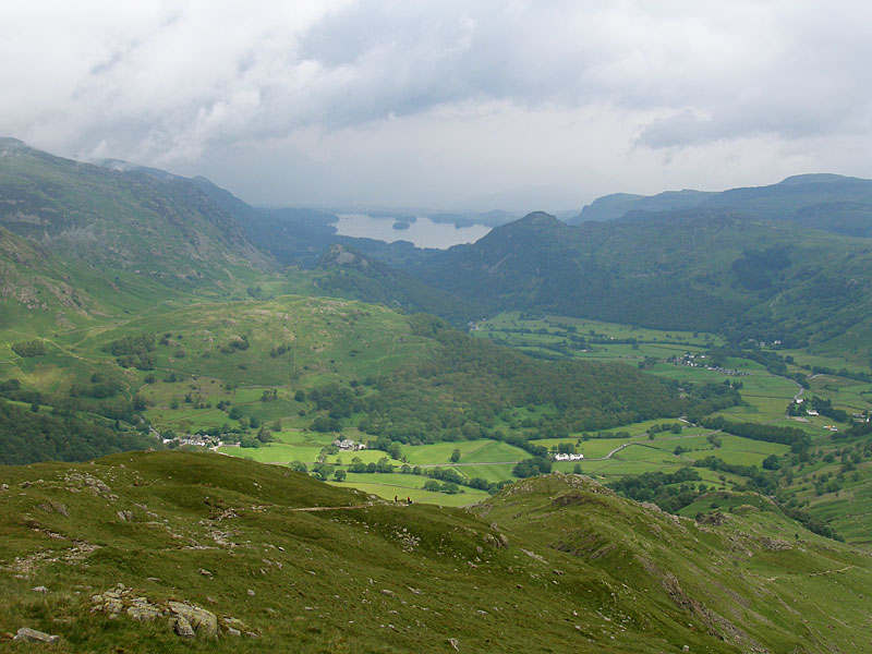 Borrowdale and Derwent Water from the summit of Thornythwaite Fell
