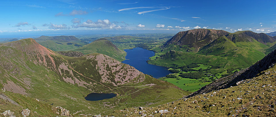 A panoramic view from High Stile - Red Pike and Dodd to the left, Crummock Water and Grasmoor to the right