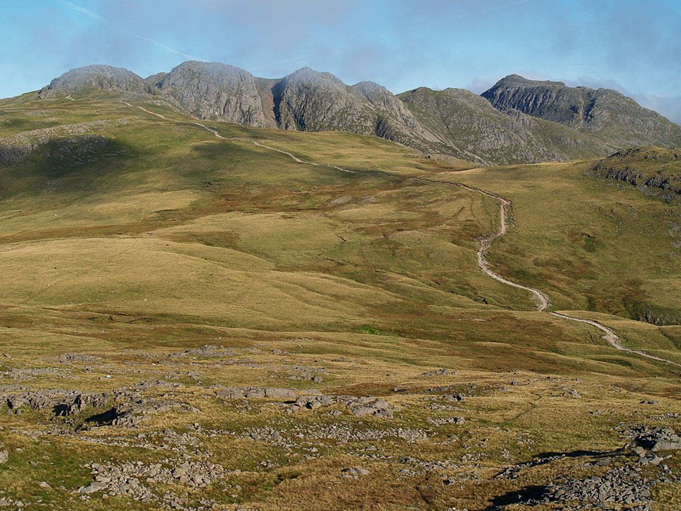 Crinkle Crags and Bowfell from Cold Pike.