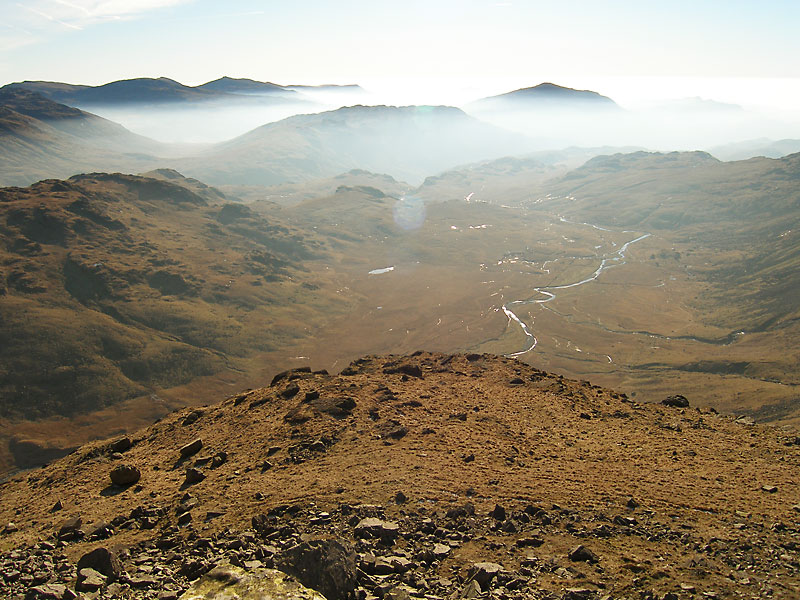Pen is a subsidiary summit to Scafell Pike overlooking the Esk Valley to the south east