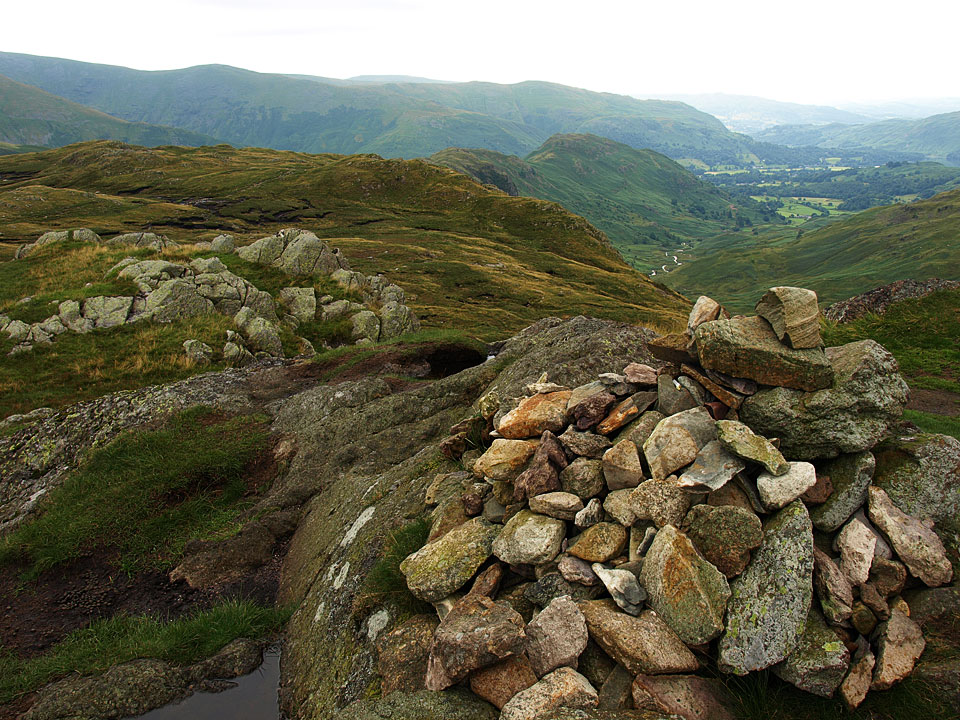 Calf Crag summit looking along the ridge to Grasmere