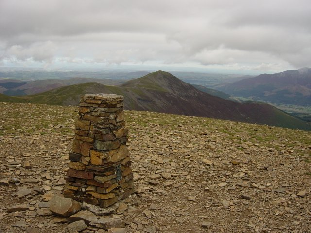 Eel Crag summit, Grisedale Pike behind.