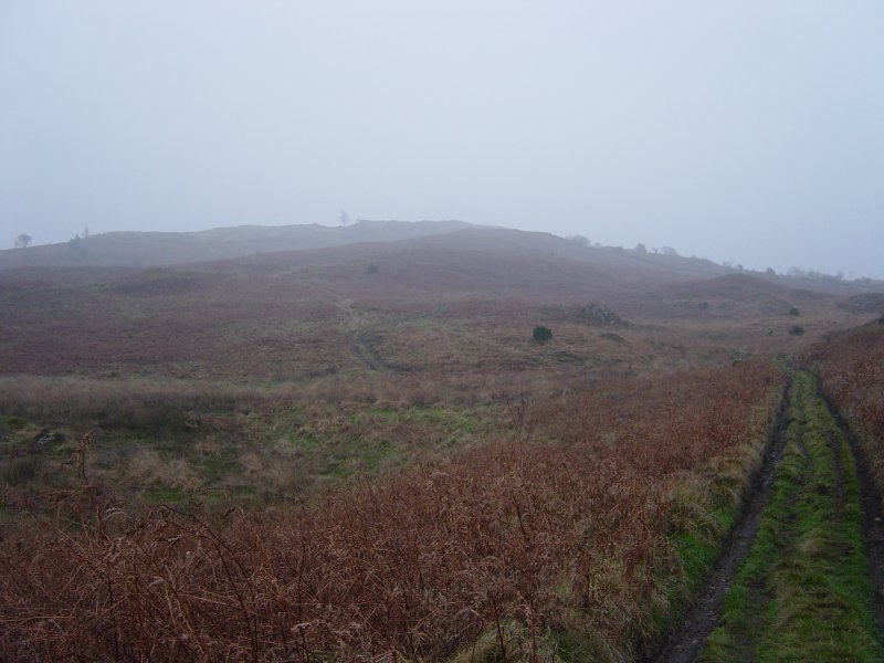 The misty path to Bigland Barrow