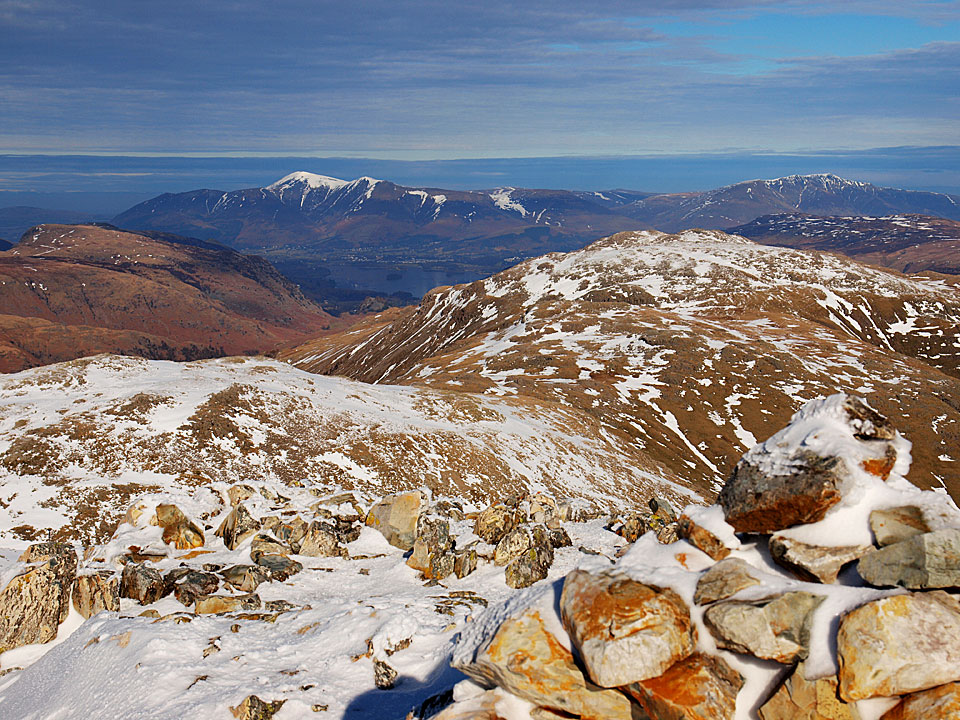 Derwent Water and Skiddaw from the summit of Esk Pike