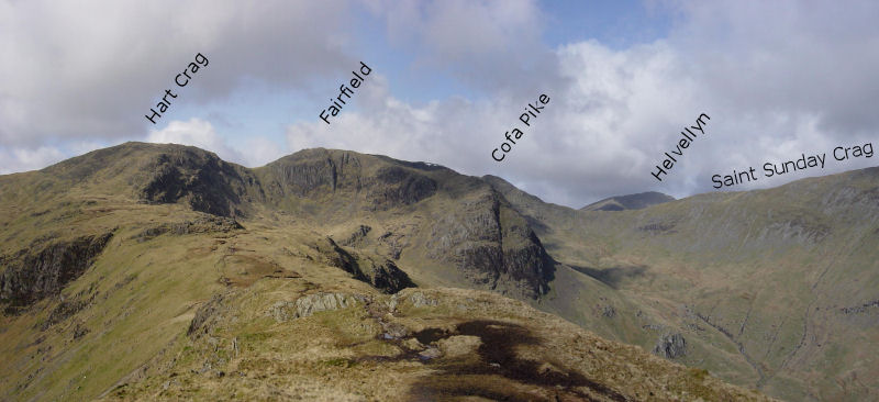 The view along the ridge from the summit of Hartsop above How