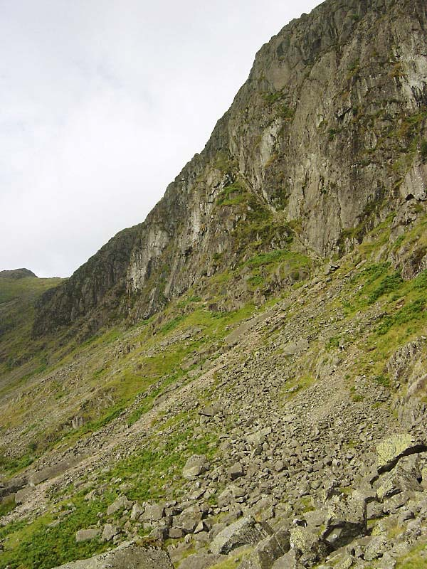 Approaching Jack's Rake which can be seen as a diagonal groove centre right - left