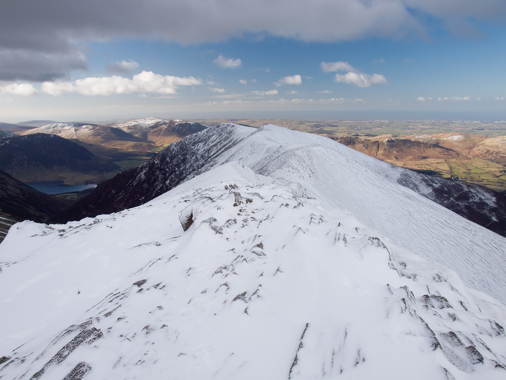 Whiteside and a glimpse of Crummock Water from Hopegill Head summit