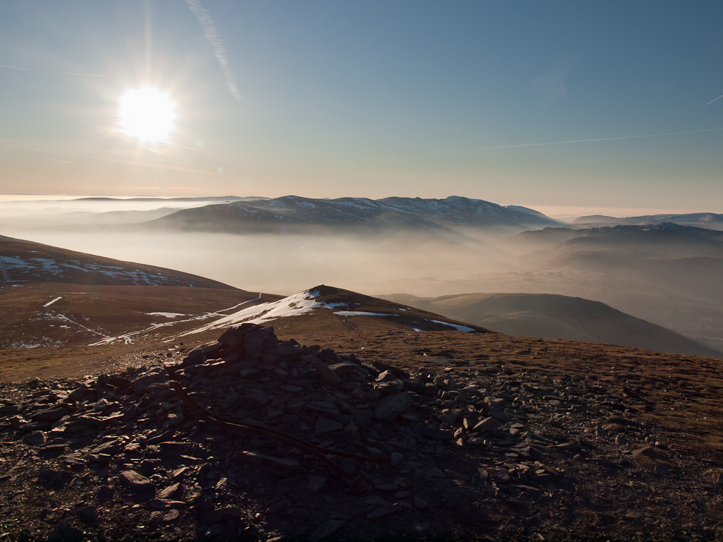 Skiddaw Little Man looking down to Lesser and the Helvellyn massif beyond