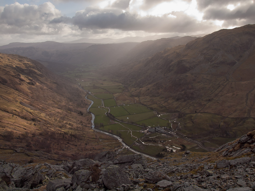 Borrowdale from the northern slopes of Base Brown