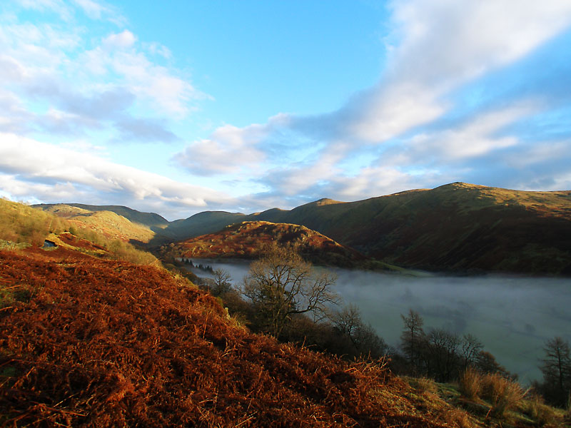 The Troutbeck Valley from the Kirkstone Pass road with Troutbeck Tongue centr
