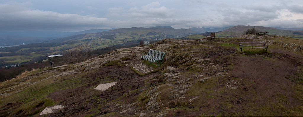 A panoramic of the top of Orrest Head