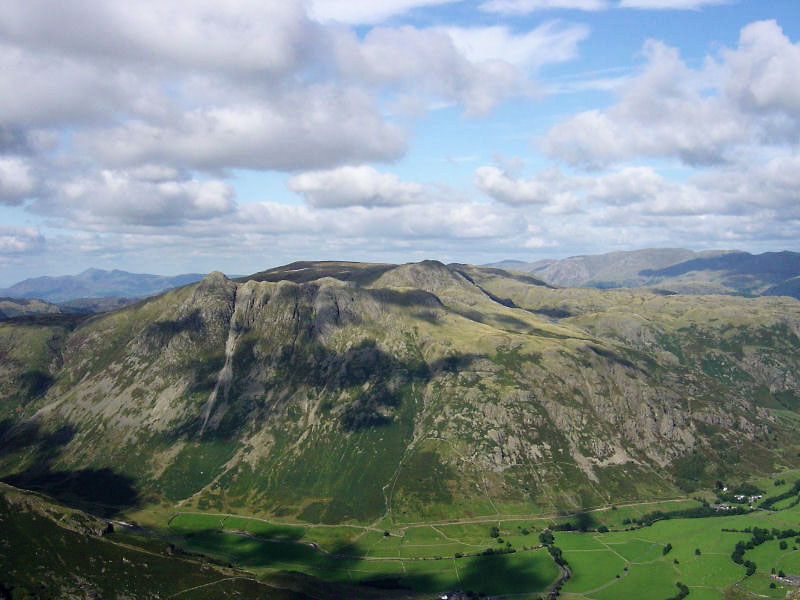 The Langdale Pikes across Mickleden.