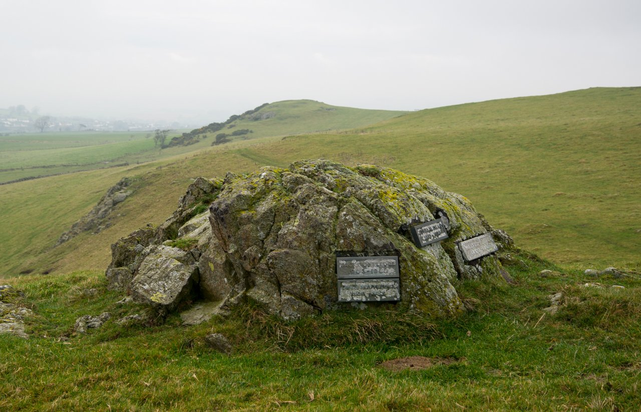 The memorial boulder, Caermote Hill