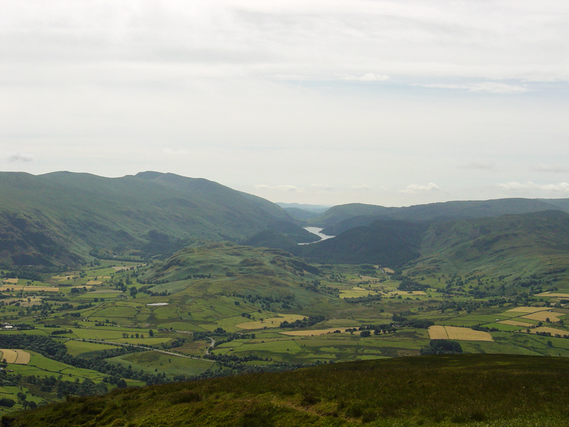 The view from Lonscale Pike, the east peak of Lonscale Fell - in the centre is High Rigg with Tewet Tarn visible and Thirlmere behind