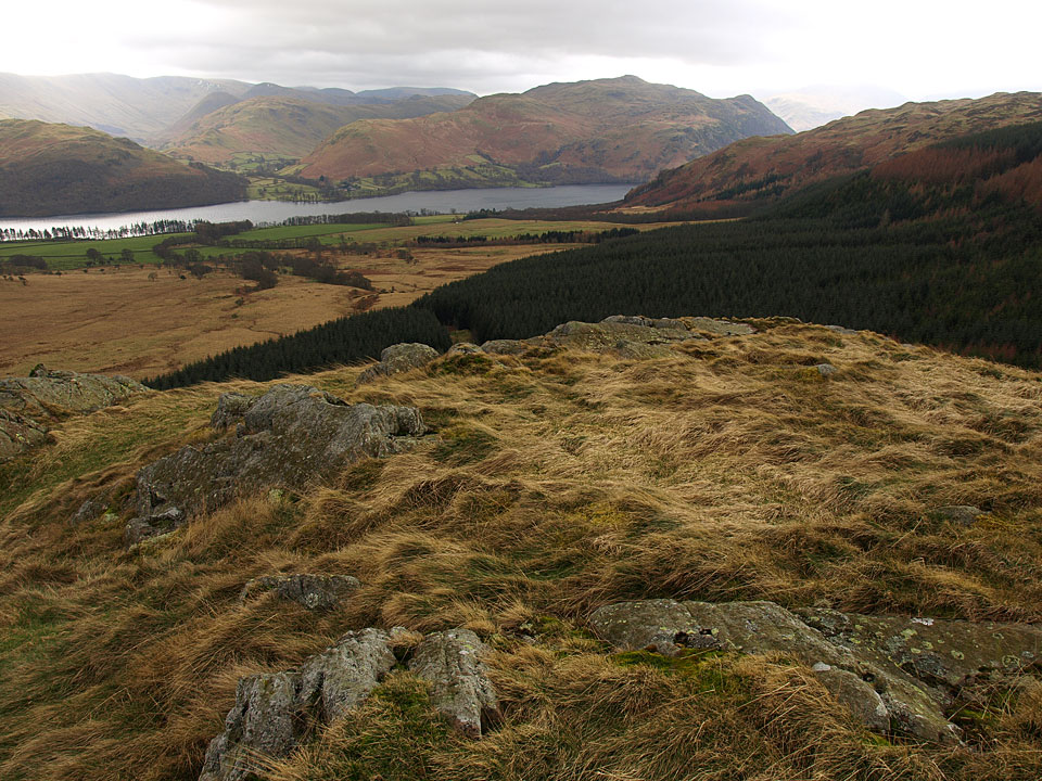 The Nab, Beda Fell and Place Fell across Ullswater from the top of Little Meldrum
