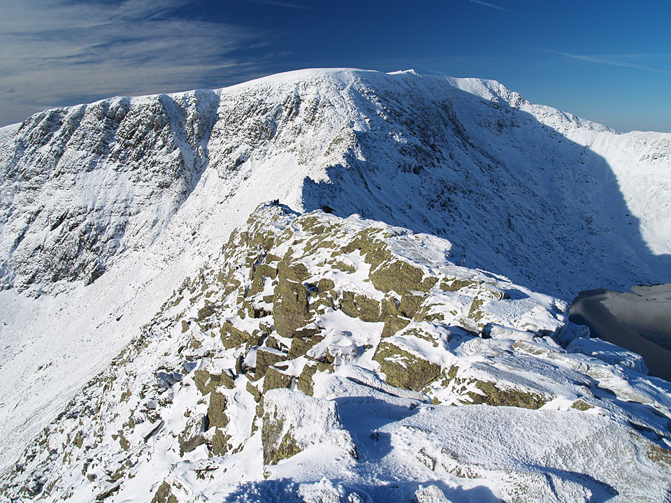 Striding Edge and Helvellyn from Low Spying How, the flat top of Helvellyn ahead