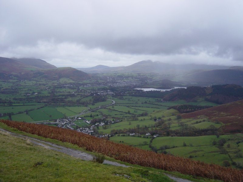 Looking towards Keswick and Derwent Water from the top of Kinn