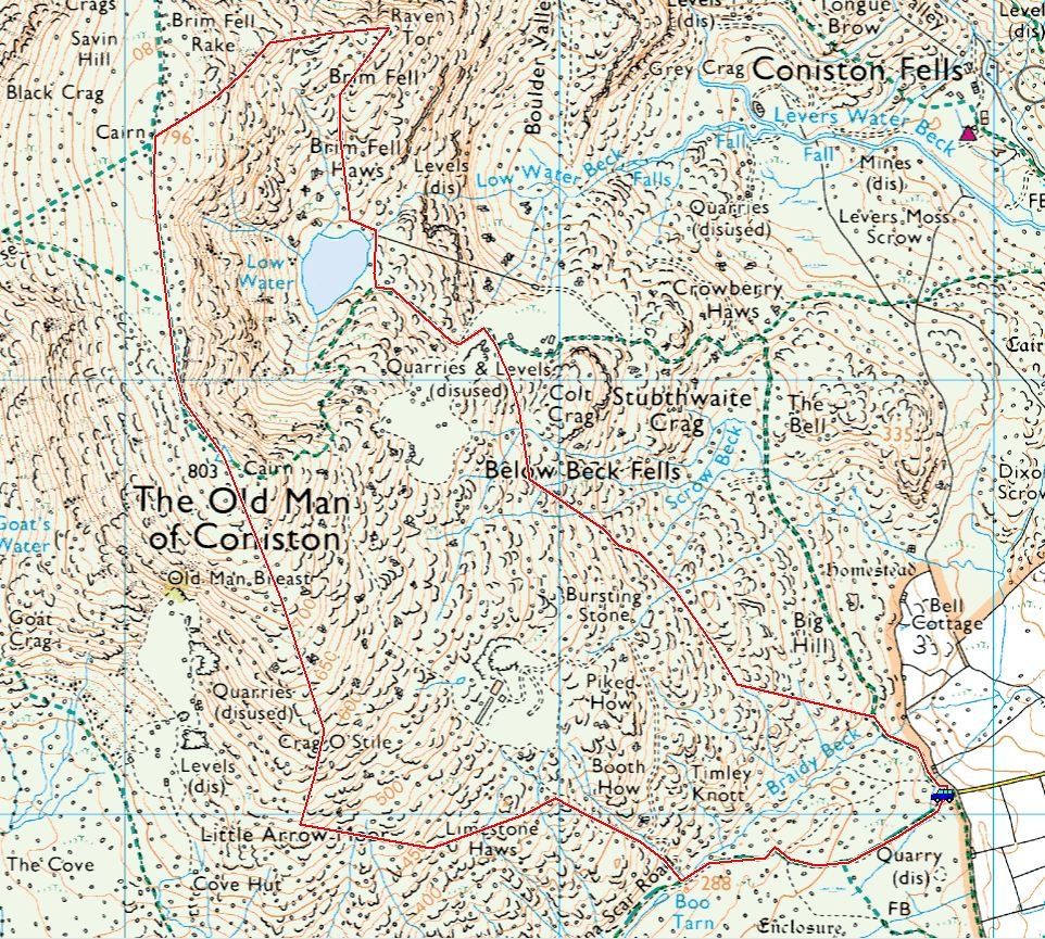 Coniston Old Man Route Map