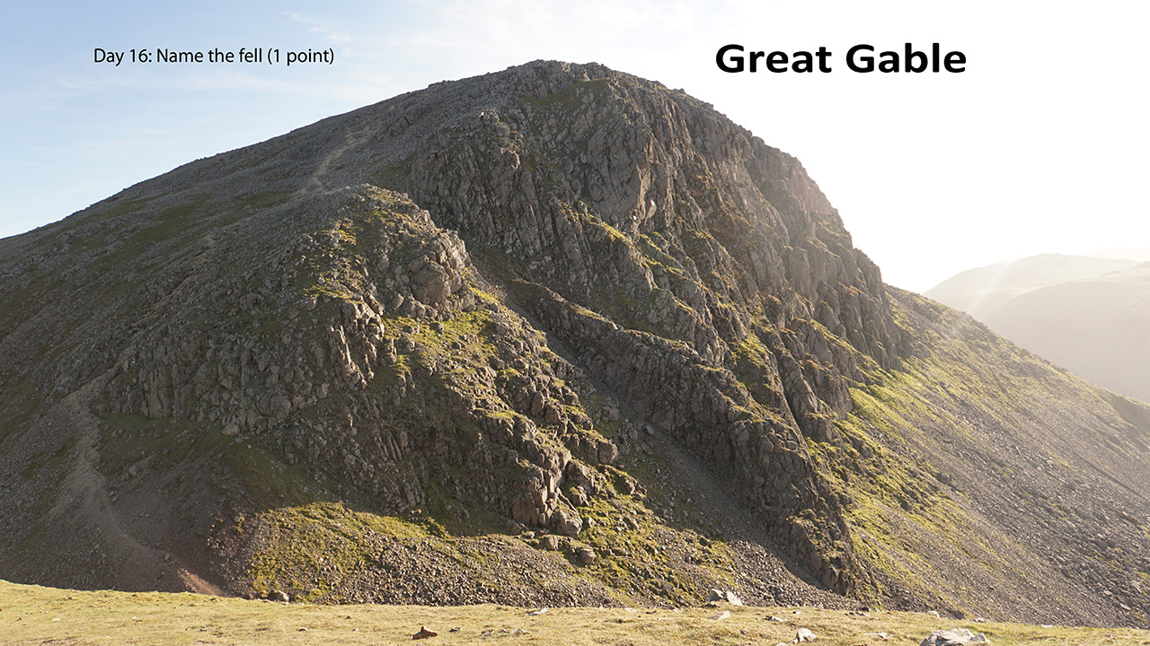 Looking back to Great Gable. we've just come down that path on the left